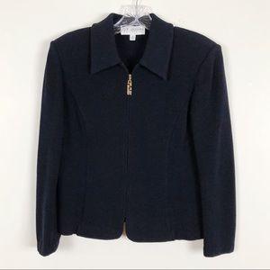 St. John Collection Black Zip Jacket Santana Knit